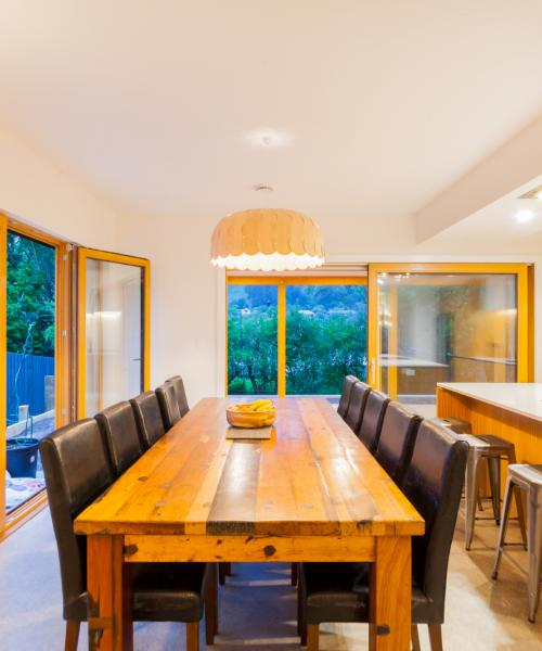 There is easy access to outdoors from the dining and kitchen